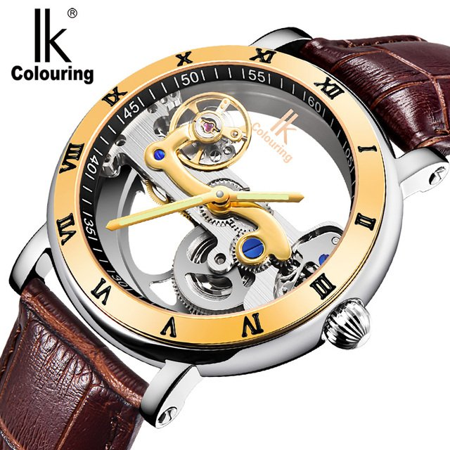 IK Colouring Luxury Men Watch Stainless Steel Case Male Clock Auto Mechanical Wristwatch 5ATM Waterproof Relogio Masculino
