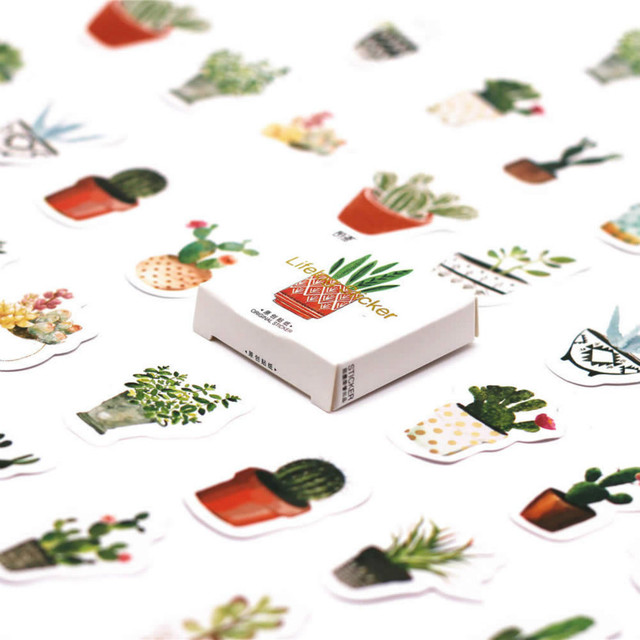 45pcs/pack Kawaii Stationery Stickers cute Cactus pattern scrapbooking diary planner Posted It School Supplies