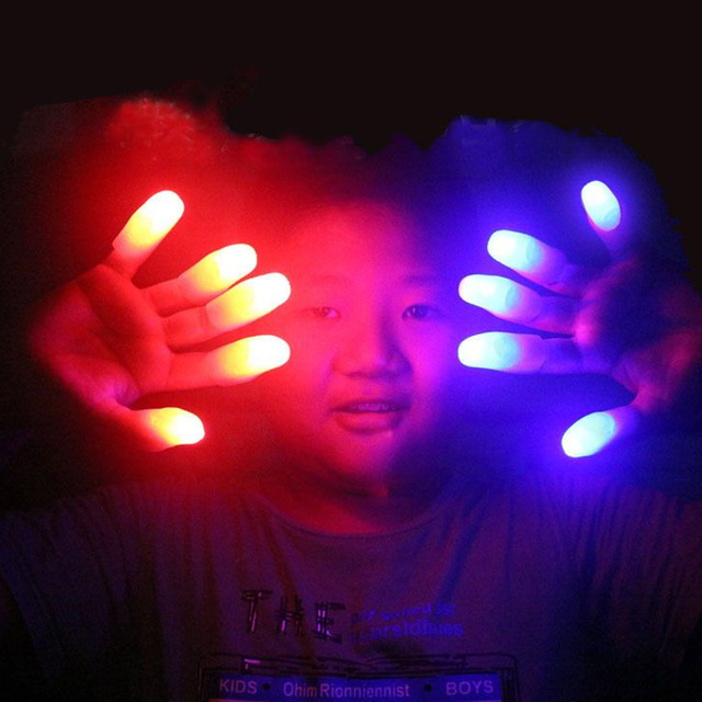 10pcs Funny Cute LED Light Glowing Finger Thumbs Flashing Toys for Magic Trick Props Halloween Party Supplies Random Colors