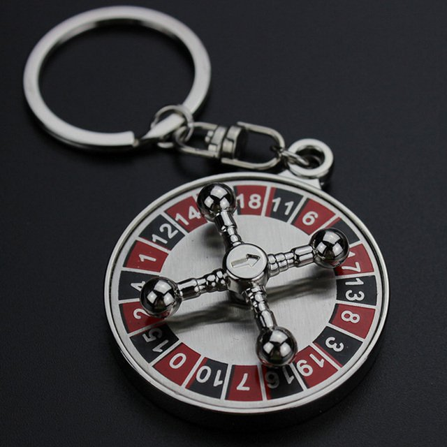 Russian Roulette Keychain Rotatable Plane Key Chain Turntable Digital Disk Key Ring Holder Car Keychain