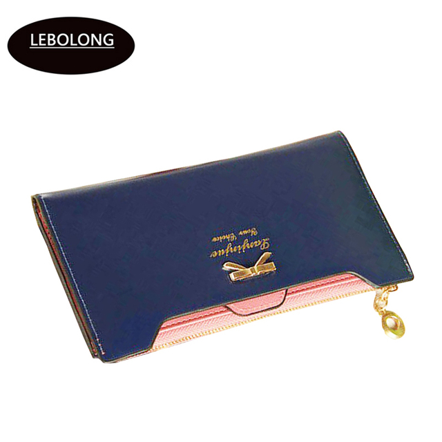 Lebolong Fashion Lady Long Wallets Cow Leather Carteira for Women Coin Card Clutch Bag Purse Female Candy Color Long Zip Purse