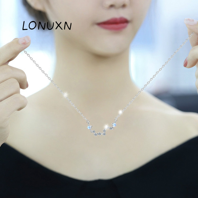 7 stars Moonlight Stone Crystal necklace women 100% 925 Sterling silver necklace Jewellery Clavicle chain pendant charms gift