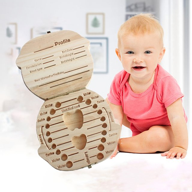 Baby Organizer Dental Teeth Box Milk Tooth Wooden Container Save Storage Collecting Teether Children Storage Boxes For Boy Girl