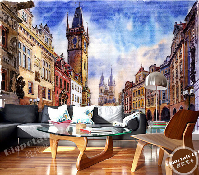 The latest 3D murals, the blue sky the castle tower oil painting de parede Papel, living room TV sofa bedroom wall paper