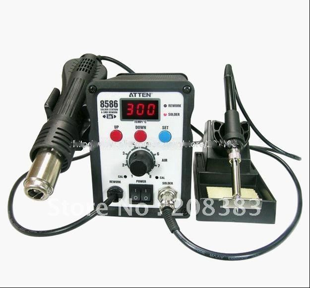 Free Shipping  117# AT8586 2in1 SMD Rewoke Soldering Station Hot Air Gun & Welding Station