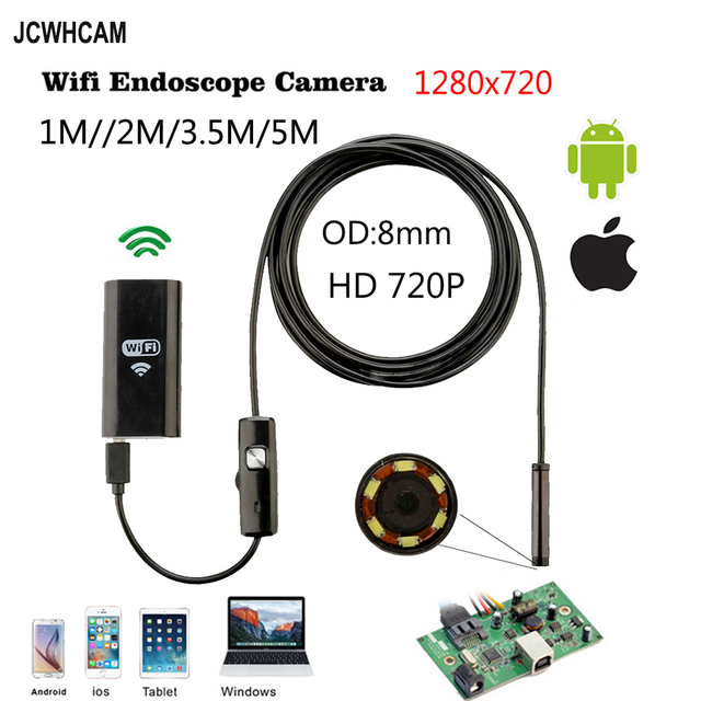 1m 2m 3.5m 5m Cable IOS Android Wifi Endoscope with 8mm Len IP67 Waterproof IOS Endoscope Snake Inspection Borescope Camera