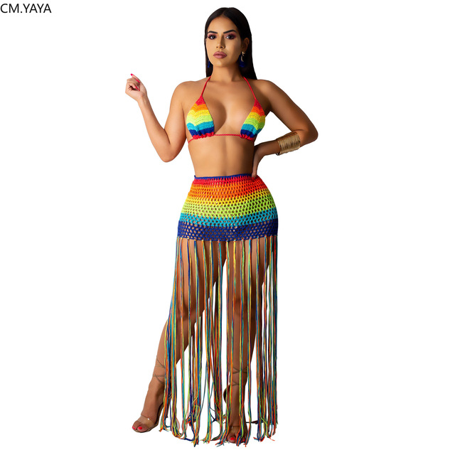 2019 women new rainbow stripe Crochet halter crop top tassel splicing sexy maxi skirt suit two piece set beach long dress GLZ051