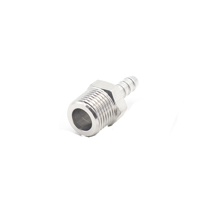 """304 Stainless Steel 1/4"""" BSP Male Thread x 6mm Hose Barb Nipple High Pressure CNC Pipe Fitting Connector For Water Air Oil"""