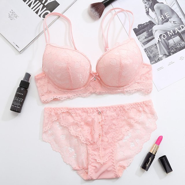Femal Intimates Floral Sexy Lingerie Set Gather Adjustable Underwear Women Lace Push Up Bra Set Thick Cup Bra And Panty Briefs