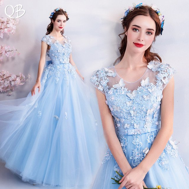 Sky Blue A-line Tulle Appliques Flowers Elegant Formal Evening Dresses 2020 New Fashion Bride Party Prom Dress XH168