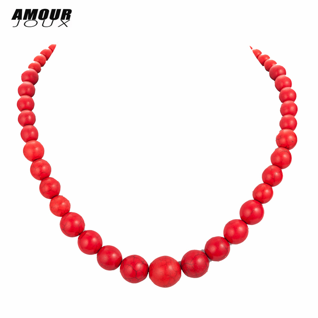 AMOURJOUX Ethnic Red Ball Shaped Natural Stone Chain Choker Statement Necklaces For Women Female Bohemian Jewelry