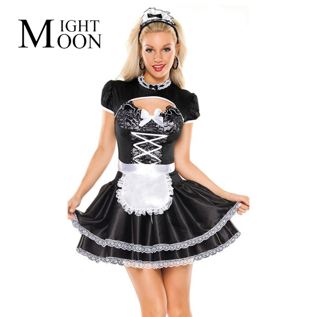 MOONIGHT French Maid Costume Halloween Costumes For Women Sexy Maid Servant Cosplay Costume Hearwear+Shawl+Dress+Apron