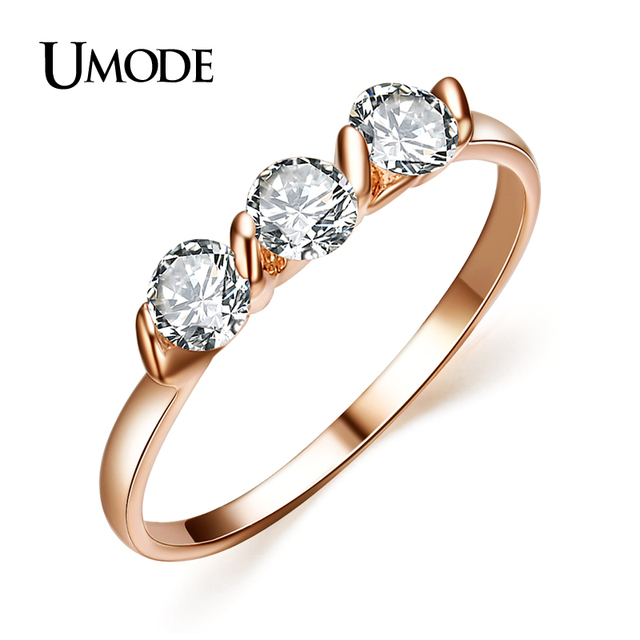 UMODE  Rose Gold Color 0.25ct * 3 Pieces Zirconia aneis feminino anelli Ladies Jewellery Rings JR0063A