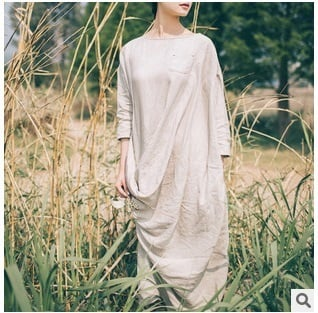 In the fall of 2015, listed on the new product brand quality original design 100% cotton linen frocks of loose big yards