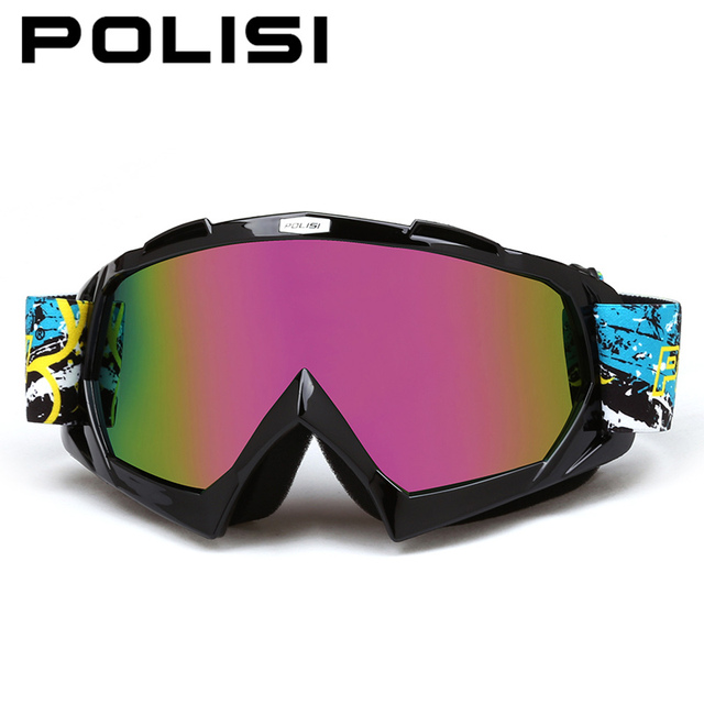 POLISI Winter Windproof Motorcycle Glasses Anti-Fog Ski Snow Snowboard Goggles Motocross Off-Road Downhill Dirt Bike Eyewear
