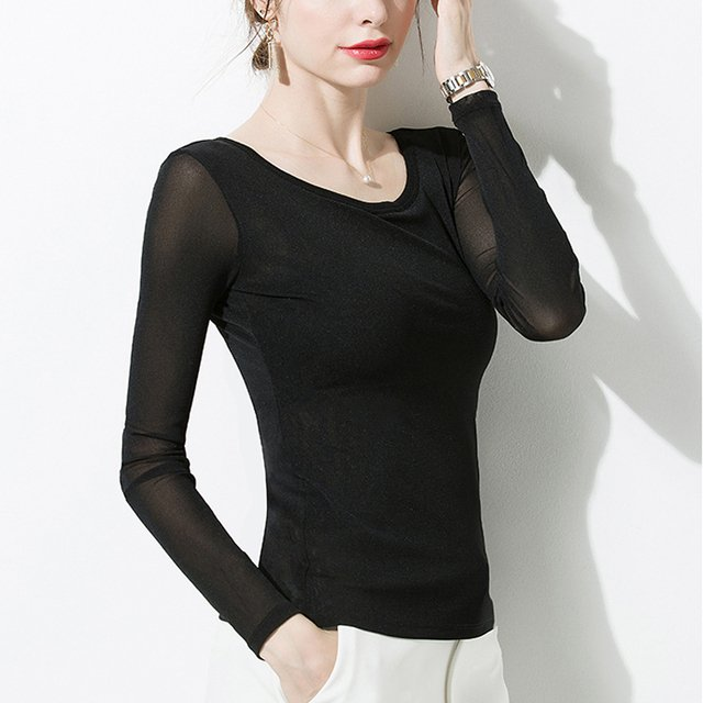 Sexy Women Black Sheer Net Shirt O-neck See Through Transparent tops Slim Long Sleeve Mesh Tops Double layer for Ladies shirt
