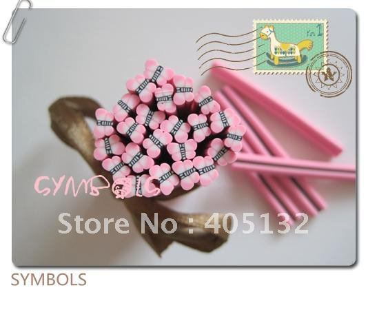 d-01 Free Shipping 100pcs 5mm Pink Butterfly Shape Clay Cane Fancy Nail Art Polymer Clay Cane