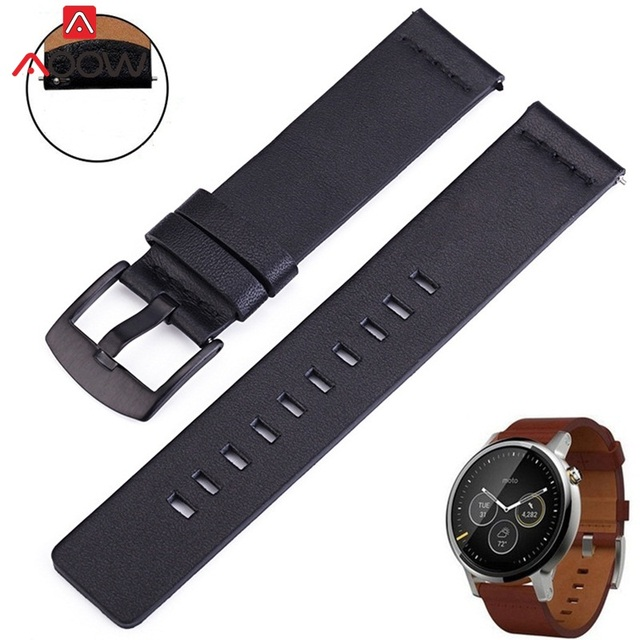 AOOW Leather Watchband for Samsung Gear S2 S3 Replacement Bracelet Band Strap for Moto360 2nd Smart Watch 18mm 20mm 22mm 24mm