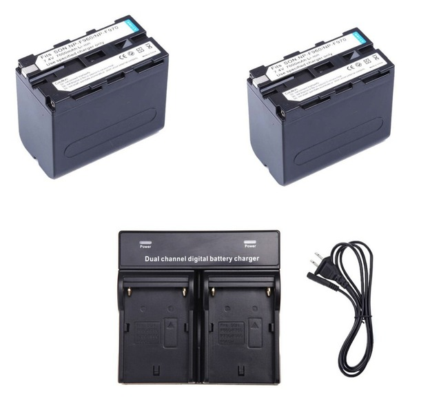 2*  7000mAh NP-F960 NP-F970 batteries / F960 battery  + 1 * Dual Charger For Sony NP-F550 NP-F770 NP-F750 F960 F970 free ship