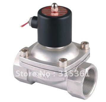"""Free Shipping 2PCS/LOT 2"""" 50mm Stainless Steel Normally Closed 2 Way VITON Solenoid Valve Oil Acid DC12V"""