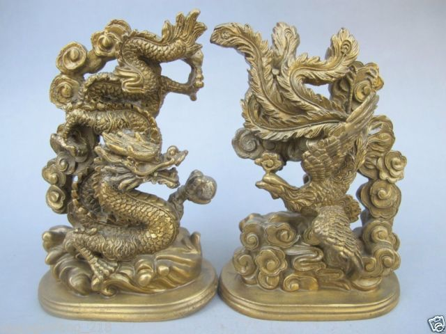 A Pair of Exquisite Chinese imitation ancient handmade brass dragon phoenix statues