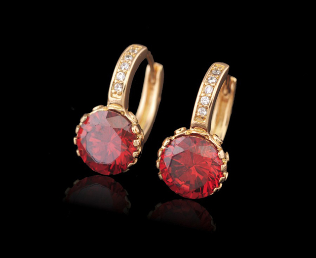 MxGxFam Fashion Precious Zircon Hoop Earrings Round Stone  Gold Color for Women