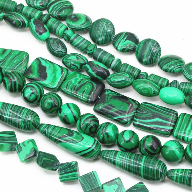 "9 shape green synthetic veins malachite calaite stone abacus barrle rice cube rectangle coin oval loose beads jewelry 15"" B363"