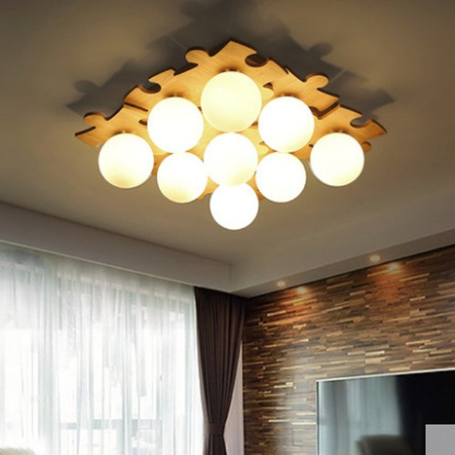 Nordic creative solid wood ceiling lamp living room lamp white glass ball Japanese E27 lighting lamps