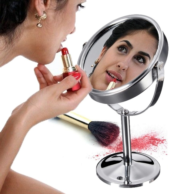 Double Side Cosmetic Makeup Mirrors Desk Stand Cosmetic Makeup Round Circle Magnifying Function glass cosmetic mirror