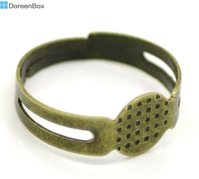 Doreen Box hot-  Antique Bronze Adjustable Ring Settings 17.9mm US 7.5 (Fit 8mm), sold per packet of 50 (B16935)