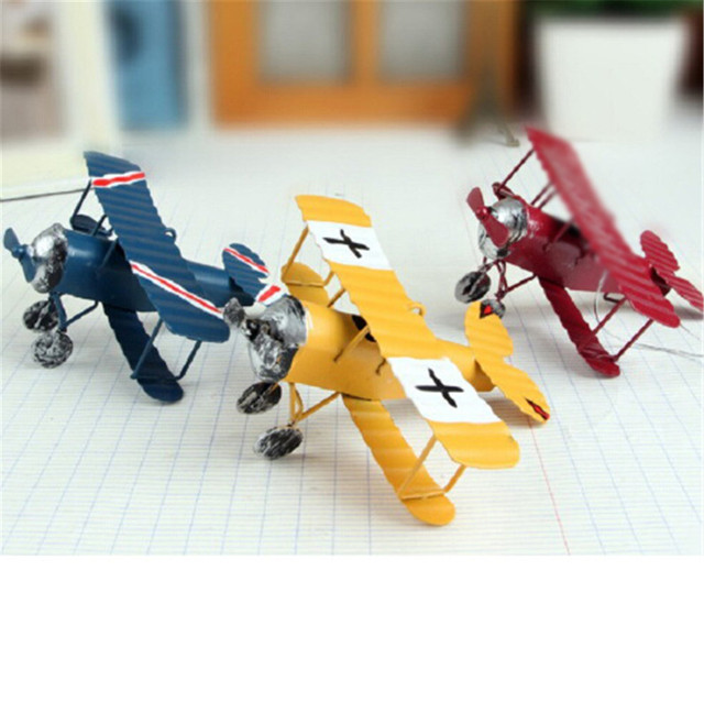 Vintage Metal Plane Model Photography Props Iron Retro Aircraft Glider Biplane Pendant Airplane Model Toy Home Decorations