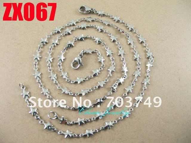 Wholesale  his-and-hers stainless steel  star chain necklace bracelet set fashion men's women jewelry 10set ZX067