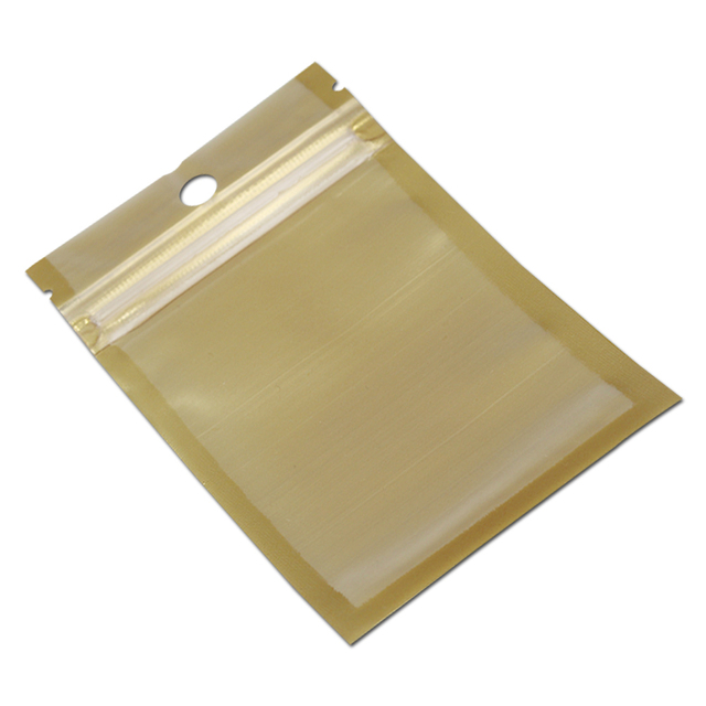 Wholesale 9*16cm Golden / Clear Self Seal Zipper Plastic Retail Storage Pack Bag, Zip Lock Bag Retail Package With Hang Hole