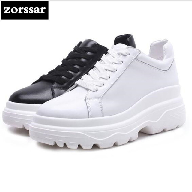 {Zorssar} 2018 Fashion Genuine Leather Flats platform Women shoes Casual flat shoes Female sneakers shoes Student Sport Shoes
