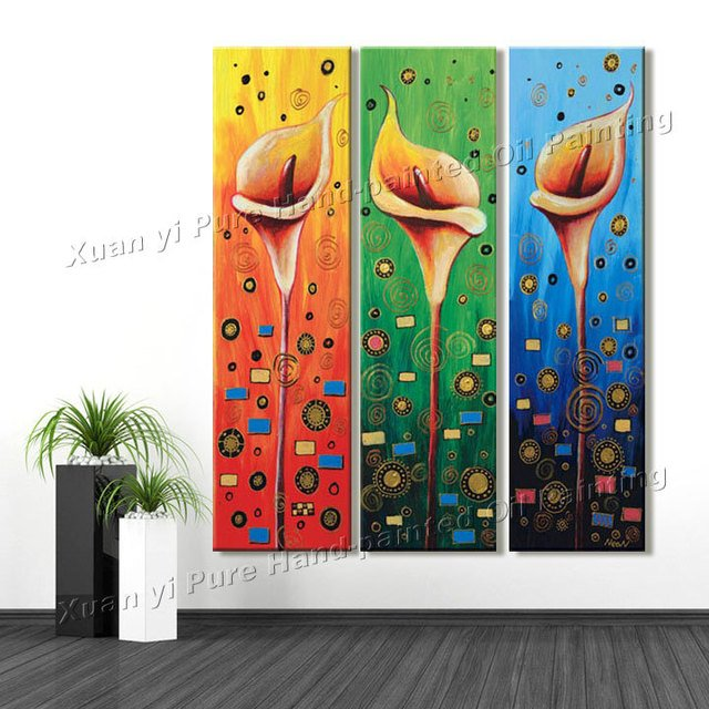 3 Piece Art Sets Hand Painted  Wall Art  Red Flowers Home Decoration Abstract Landscape Oil painting On Canvas Unframed