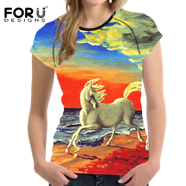 FORUDESIGNS Colorful 3D Horse Handle Painting T Shirt Women Summer Basic T-shirt O Neck Breath Woman Tops Tees Shirts For Girls