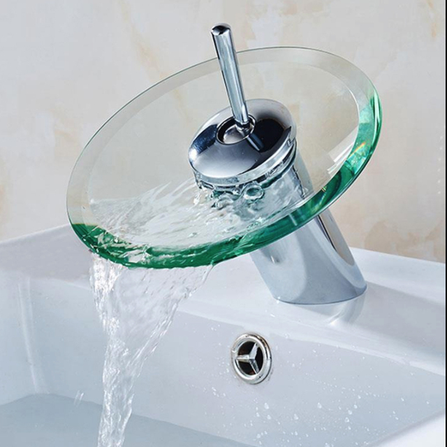 New Bathroom Waterfall Basin Toque Sink Mixer Torneira Tap Faucet Chrome Polished Glass Edge Faucet Tap With Water Inlet Pipe