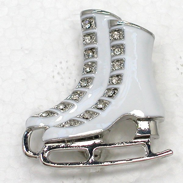 12pcs/lot Wholesale Fashion Brooch Rhinestone Enamel Ice Skate Shoes Pin brooches Jewelry gift C101822