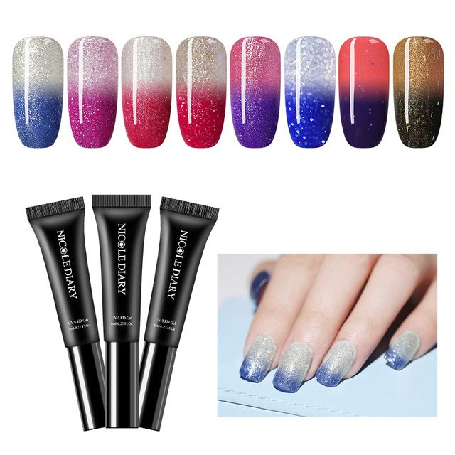 NICOLE DIARY 8ml Temperature Color Changing Gel Polish Colorful Holo Shimmer Soak Off UV Gel Varnish  Nail Art
