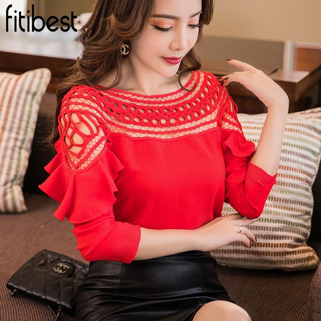 Fitibest 2018 New Chiffon Blouses Shirts Women Spring Ruffle Long Sleeve Ladies Tops Hollow Out Lace Patchwork Blusas Femininas