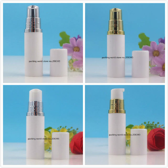5ML white plastic airless bottle with silver/gold pump white lid for lotion/emulsion/serum/sample/eye essence skin care  packing