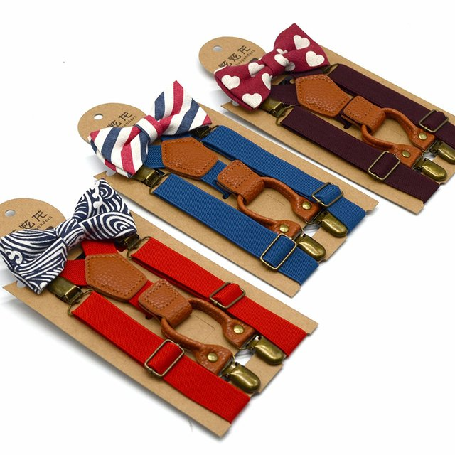 High Elastic Bow Ties Kids Baby Boys Toddler Wedding Matching Accessories Braces Suspenders Luxury Bow Tie Set with Metal Clip