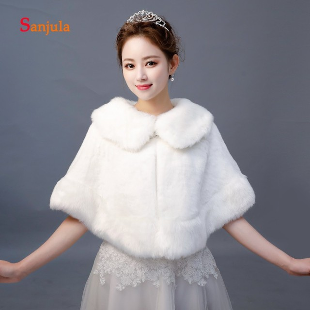 Bridal Wraps Ivory Faux Fur Wedding Accessories Women's Capes Winter Formal Dresses Accessories Bolero bruids jasjes W38