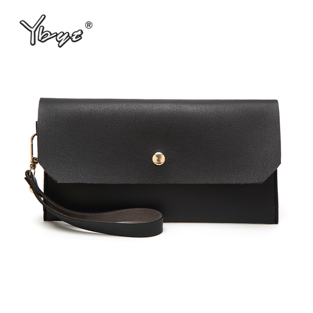 YBYT brand 2018 new casual women envelope clutch bag ladies PU soft leather coin purse female long wallet simple cell phone bags