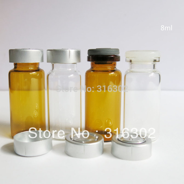 500/lot 8ML Clear Glass Vials Container & Aluminum Filip Off Cap 8CC Amber Essence Glass vial with Metal Cap