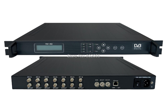 IRD 7IN1 DVB-S S2 with 7 satellite tuner  +1 ASI  Mux   ASI out  Multiplexer professional satellite Receiver