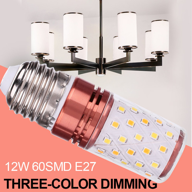 Super Bright Light Bulb 12W 60LEDs 2835 SMD 85-265V E27 Three-Color Dimming Home Garden Lamp Floodlight Spare Indoor Outdoor