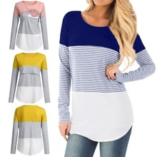SAGACE Casual Striped Women Long Sleeve Maternity Tops Breastfeeding Tops Ladies T-Shirt Loose Pregnancy Loose Clothes T Shirt