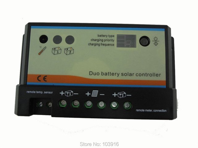 10A Duo-battery solar regulator, solar charge controller 12/24v, for two battery charging