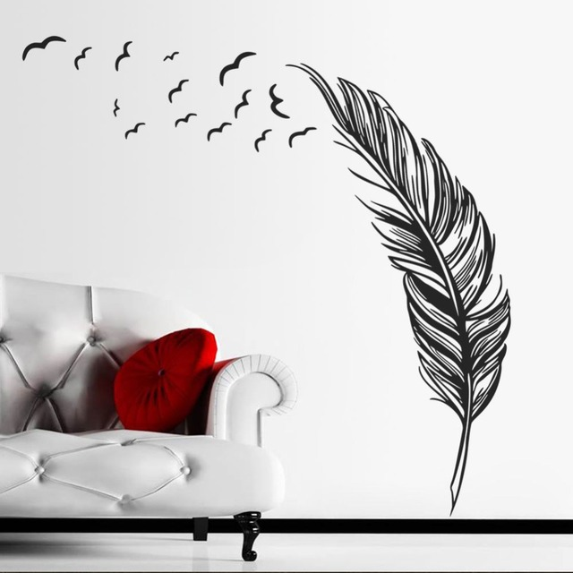 Free Shipping Creative Feather Vinyl Wall Decal Feathers Flying Birds Mural Art Wall Sticker Living Room Bedroom Home Decoration